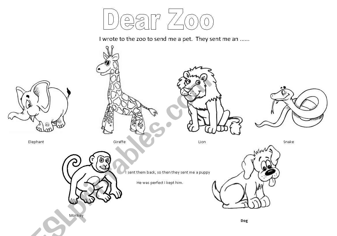 English Worksheets Dear Zoo