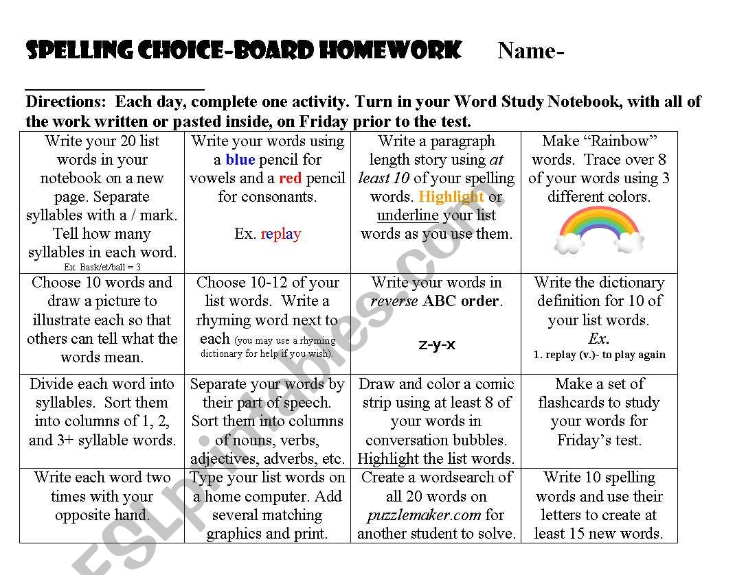 English Worksheets Spelling Choice Board