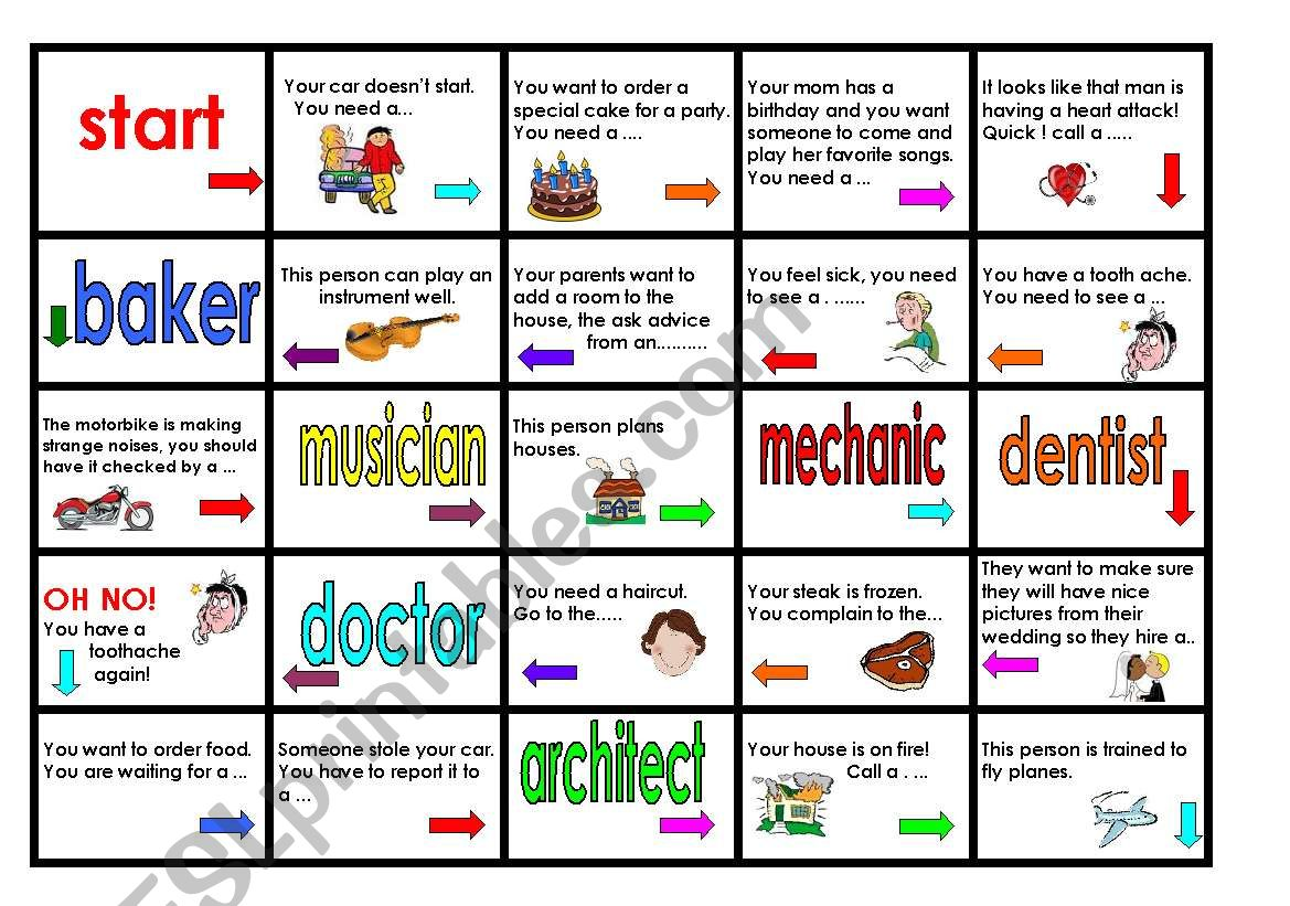 English Worksheets Jobs Board Game