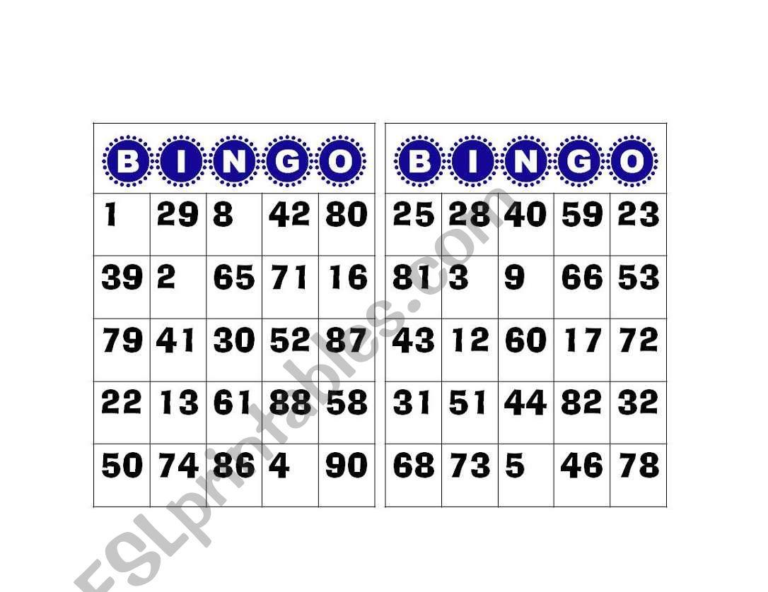 Bingo Numbers 1 To 100