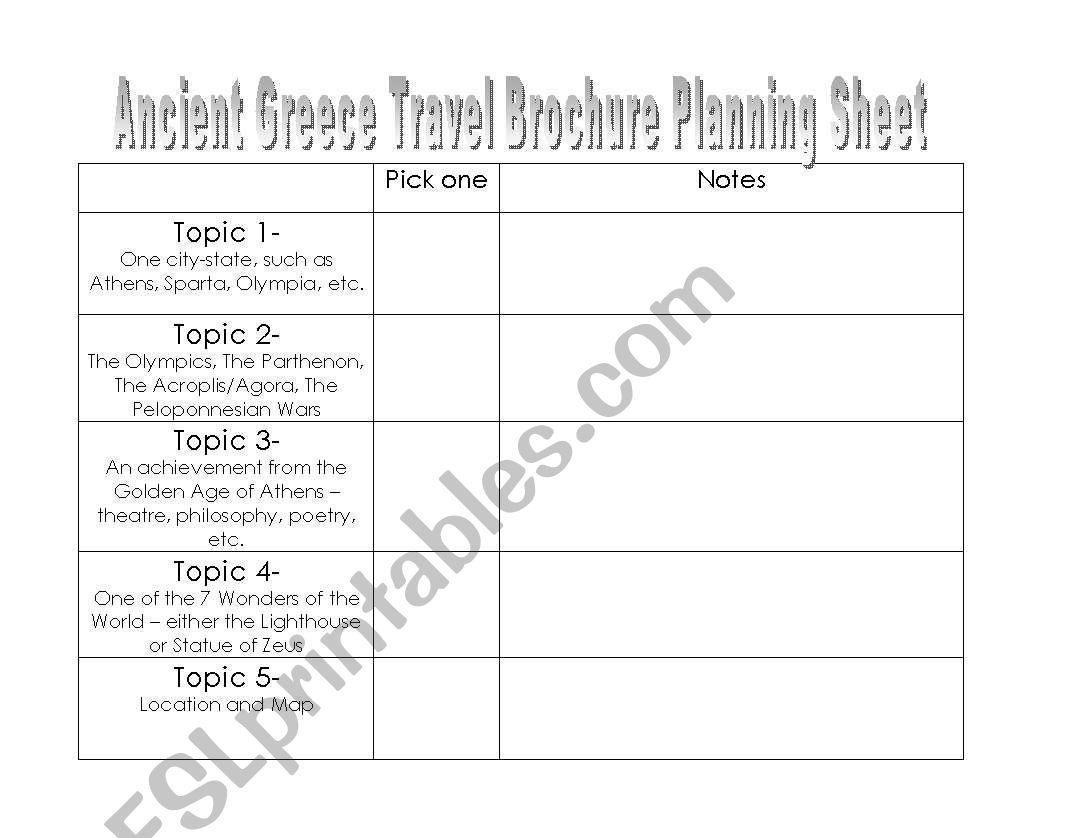 English Worksheets Travel Brochure Planning Sheet