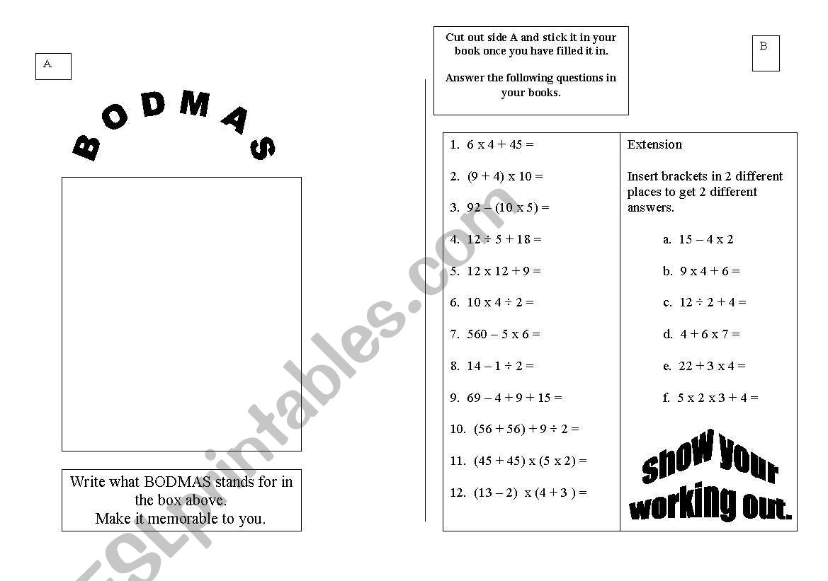 English Worksheets Bodmas