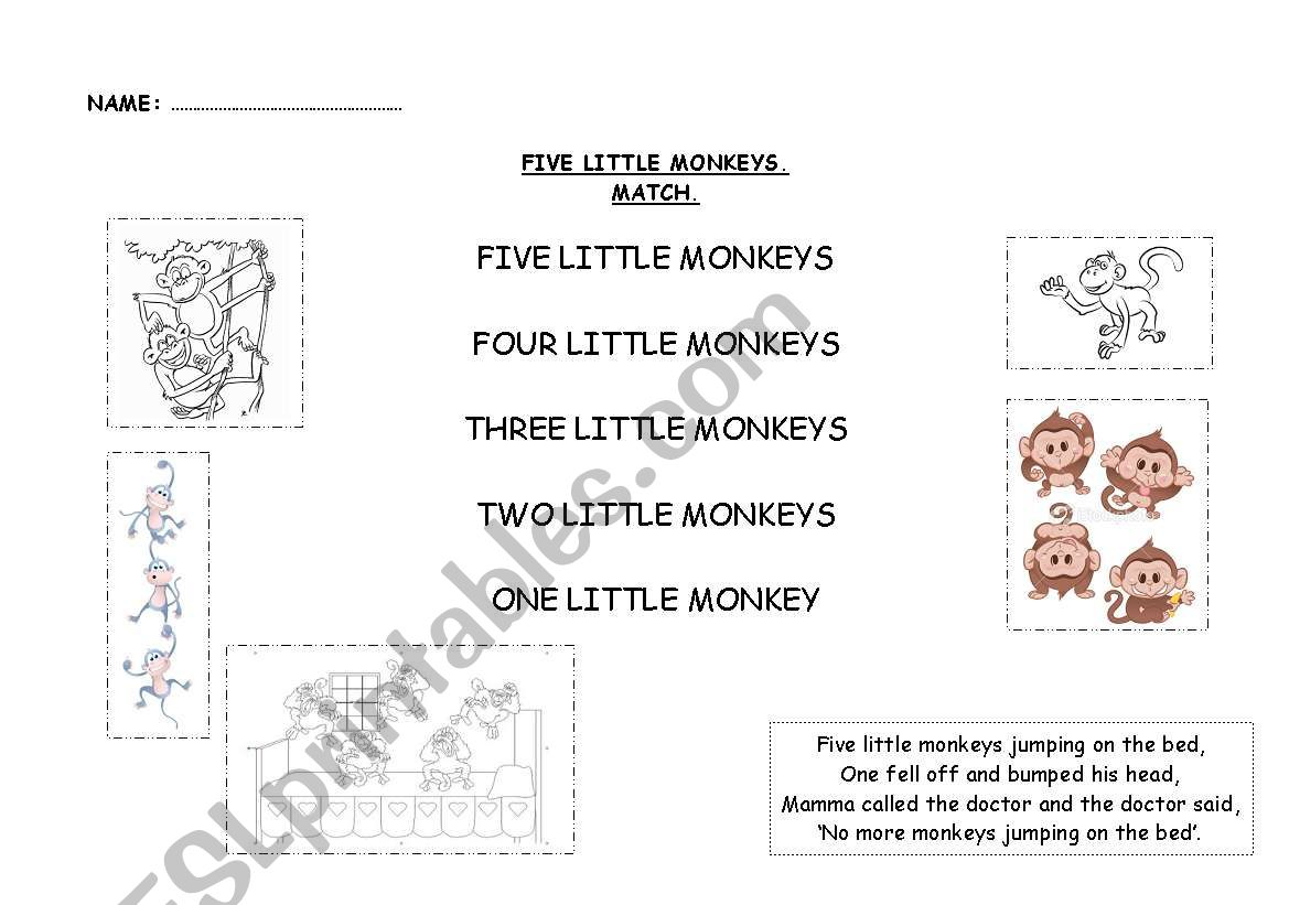 English Worksheets Five Little Monkeys