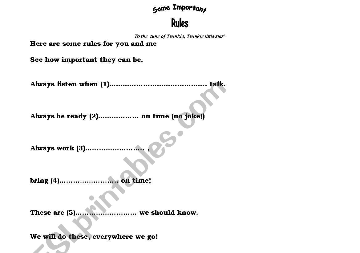 Classroom Rules A Poem