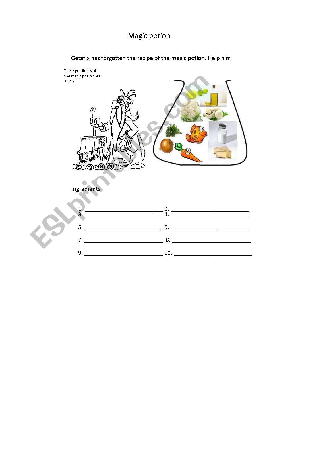 English Worksheets Magic Potion