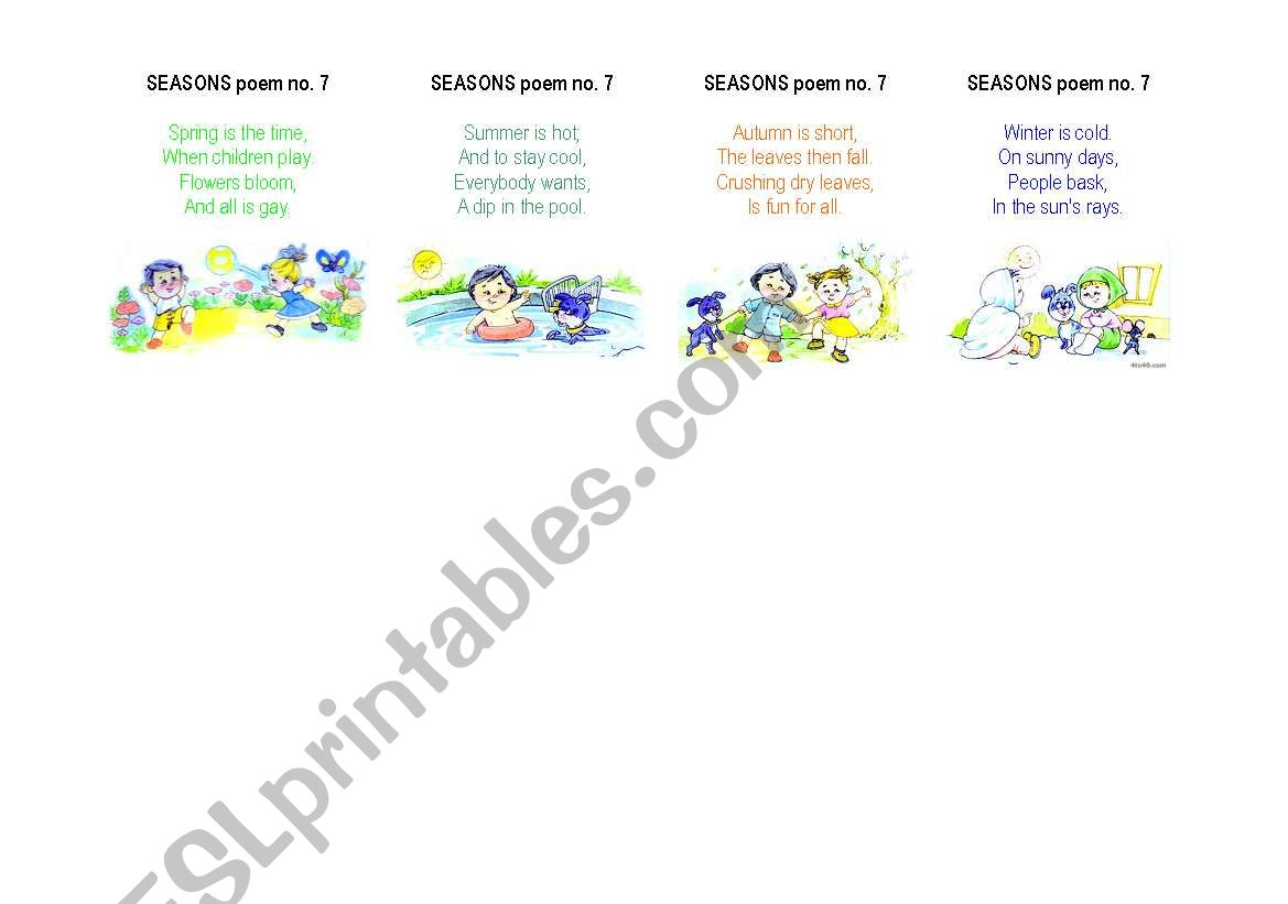 English Worksheets Seasons Poem No 7