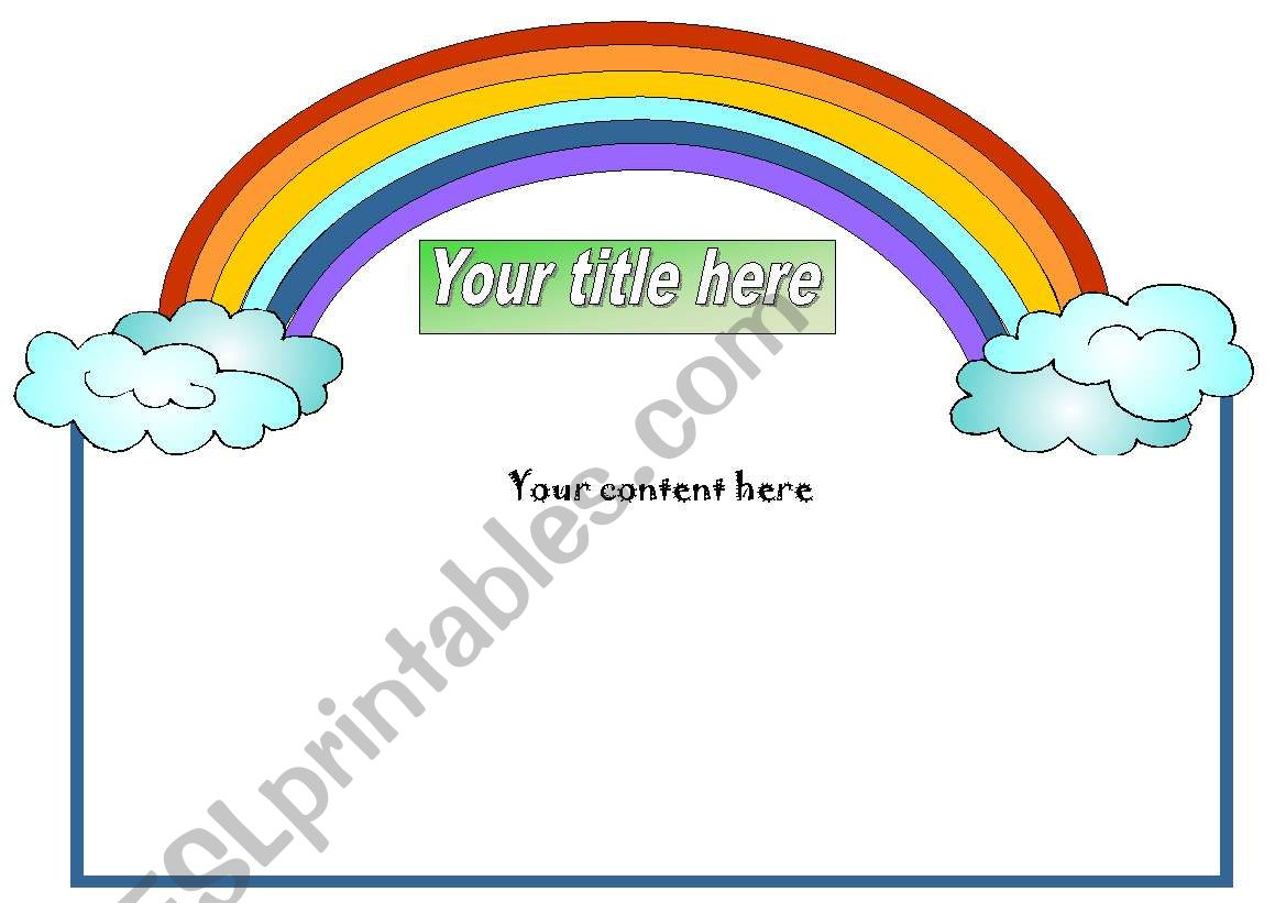 English Worksheets Rainbow Template