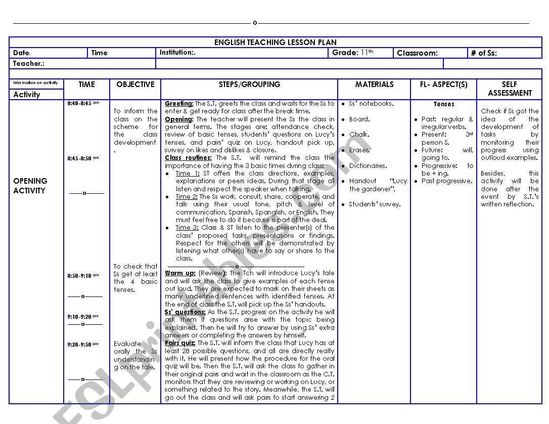 English Worksheets 11 Grade Lesson Plan