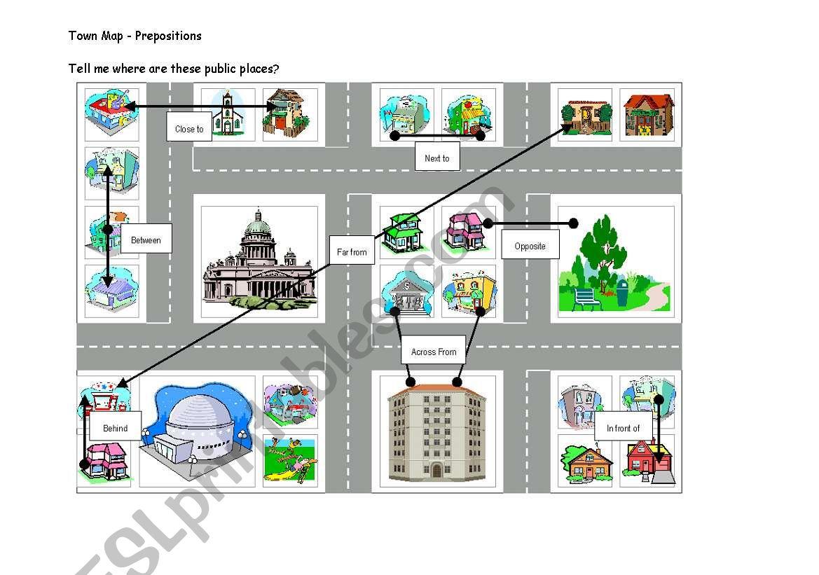 Map Directions Worksheet Esl