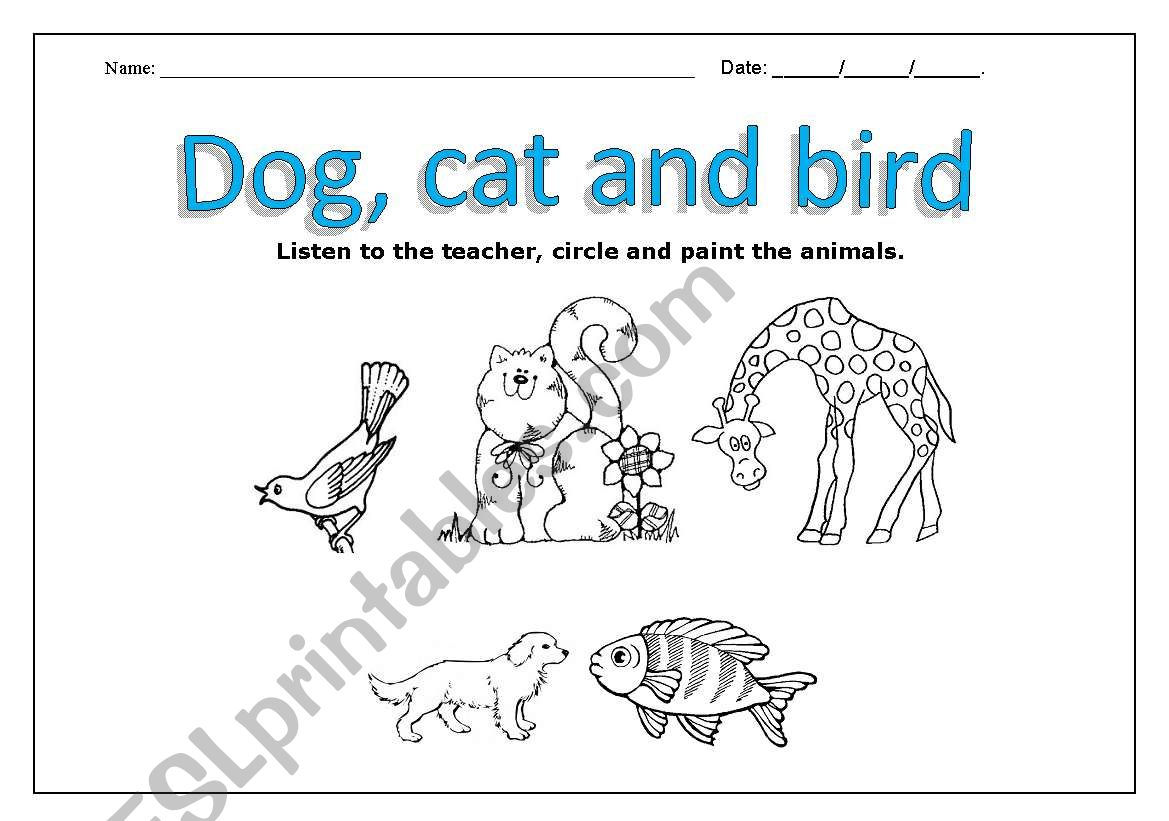 English Worksheets Pets