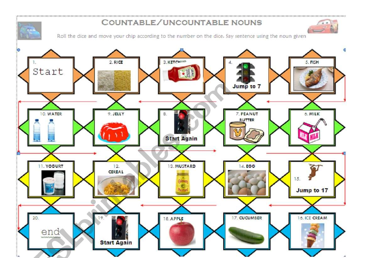 Countable And Uncountable Nouns Board Game