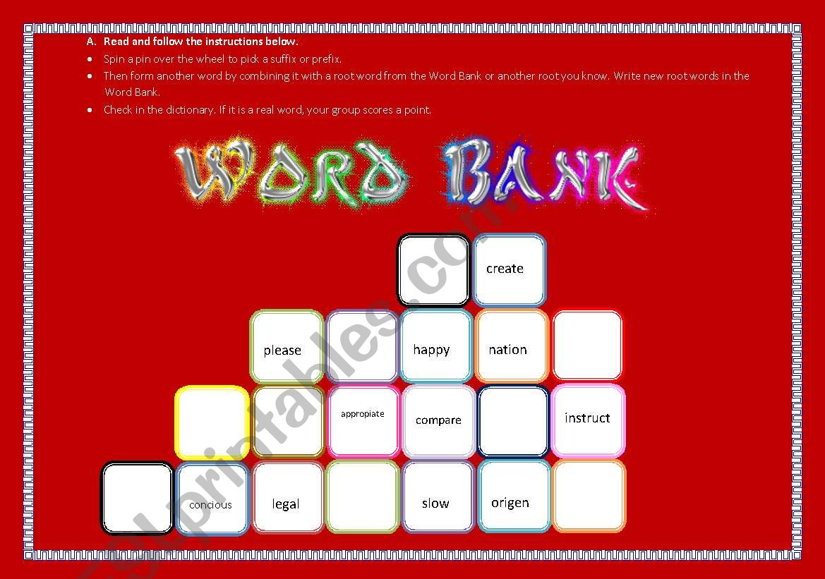Prefixes And Suffixes Game Part I