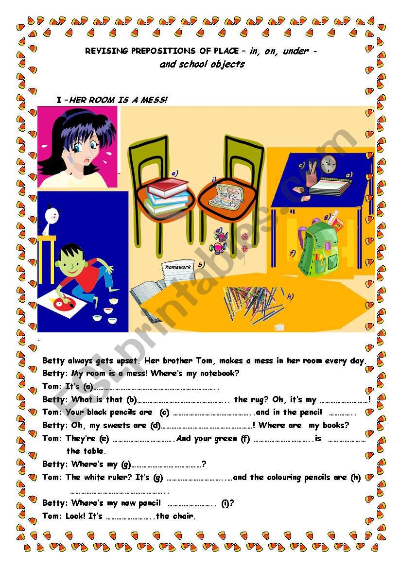 Revising Prepositions Of Place And Classroom Objects