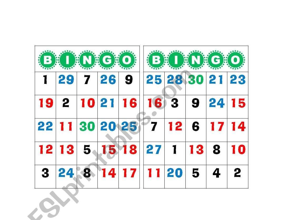 Bingo Number 1 To 30
