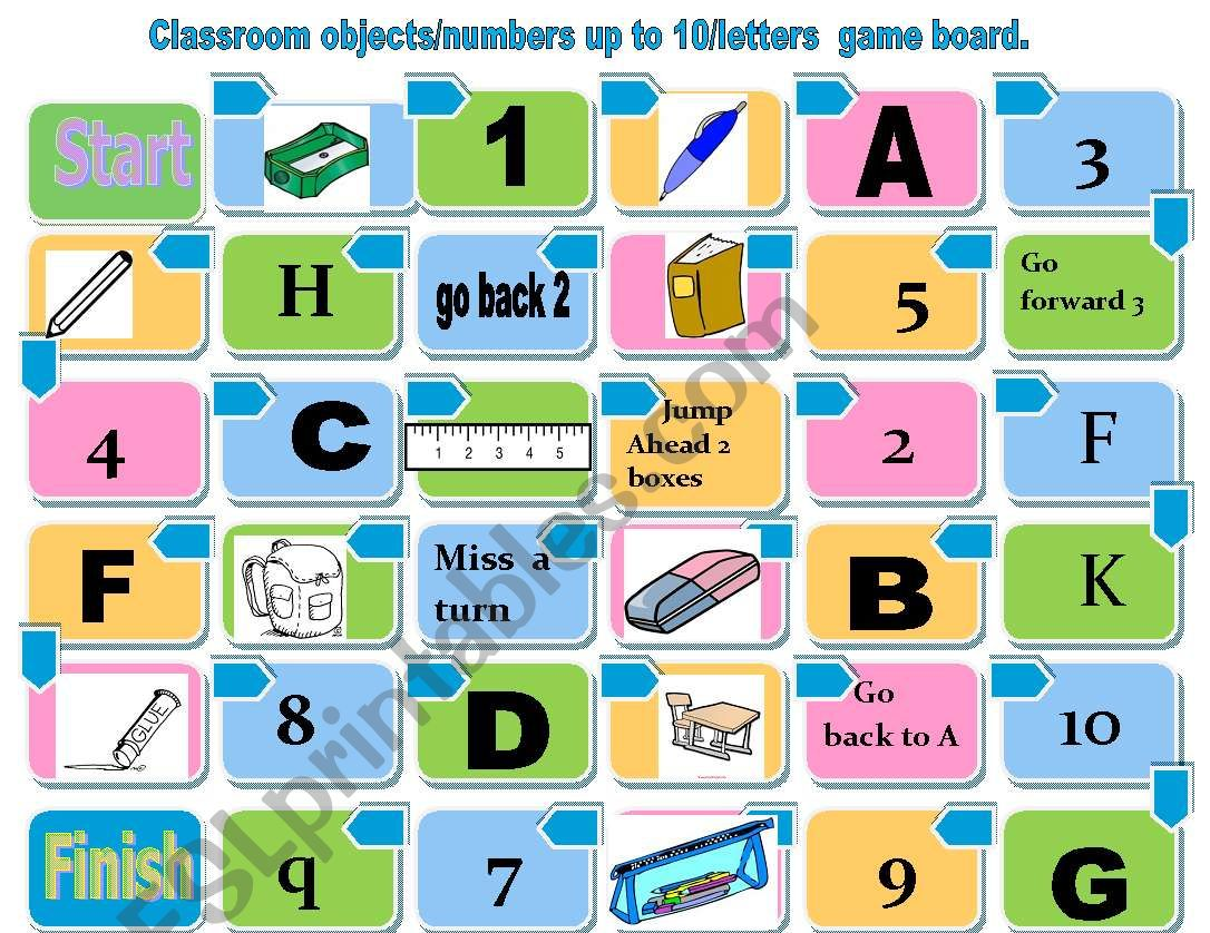 Classroom Objects Board Game