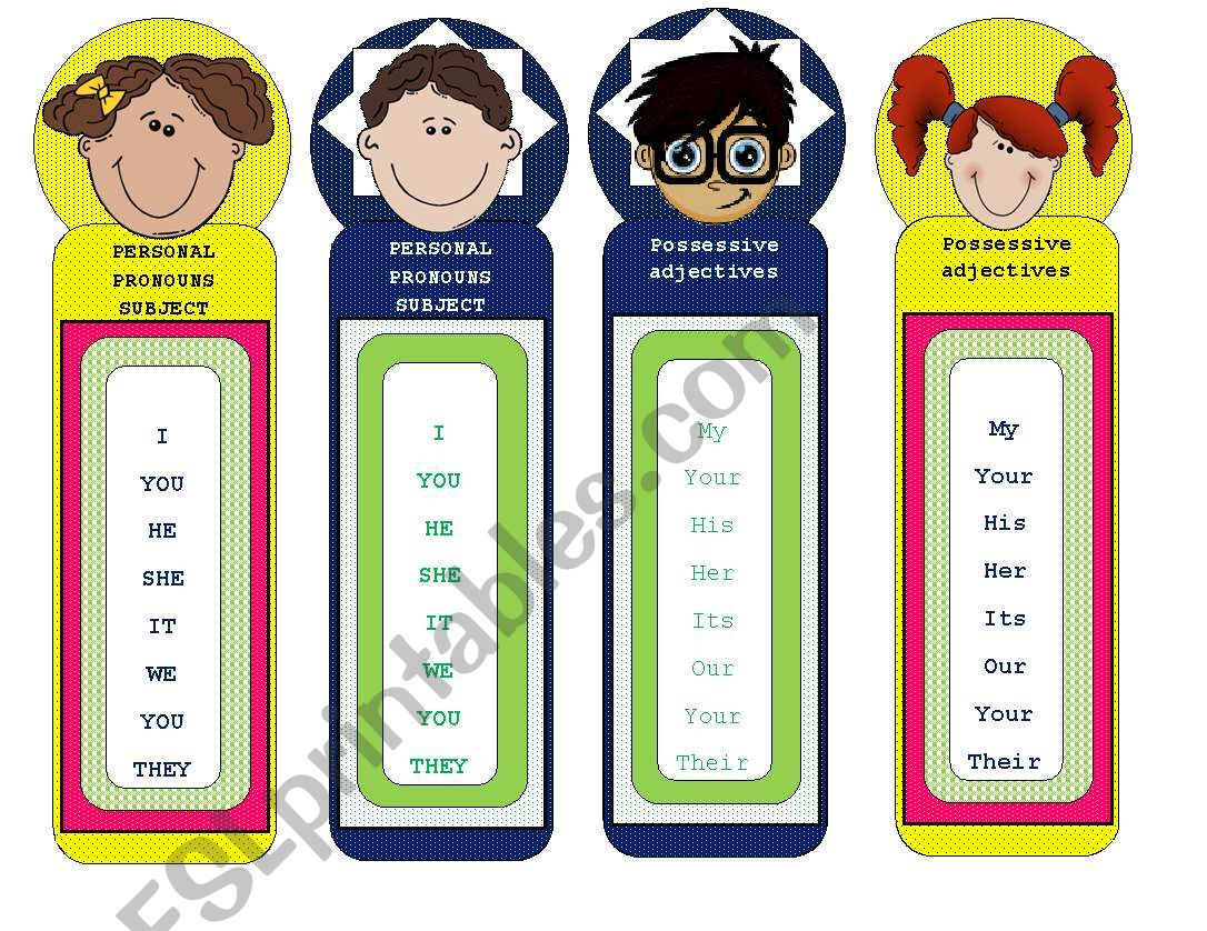 English Worksheets Bookmarks Personal Pronouns And Possessive Adjectives