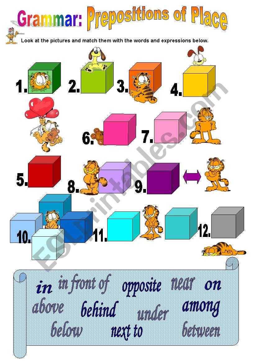 English Worksheets Prepositions Of Place