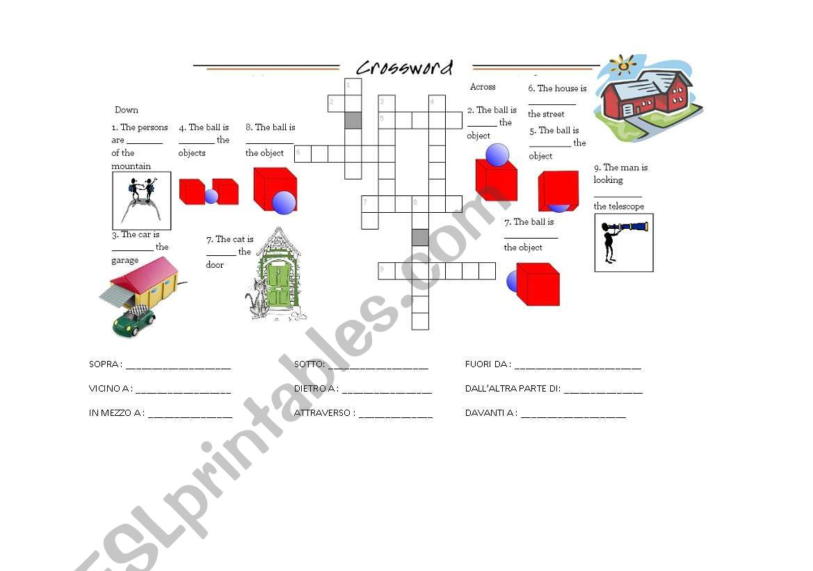 English Worksheets Crossword