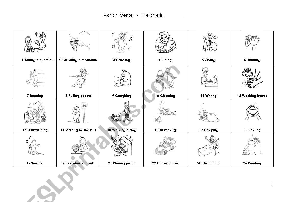 Action Verbs And Ing Form