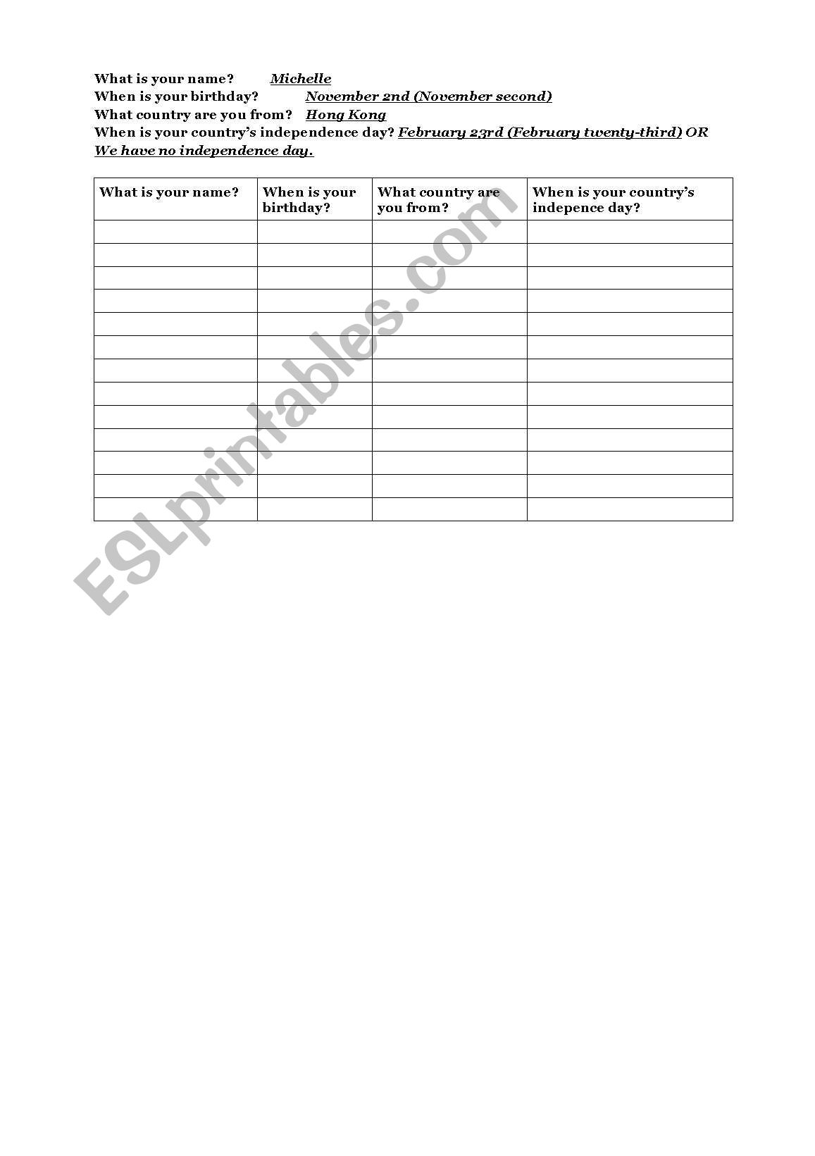 English Worksheets Dates Conversation Grid