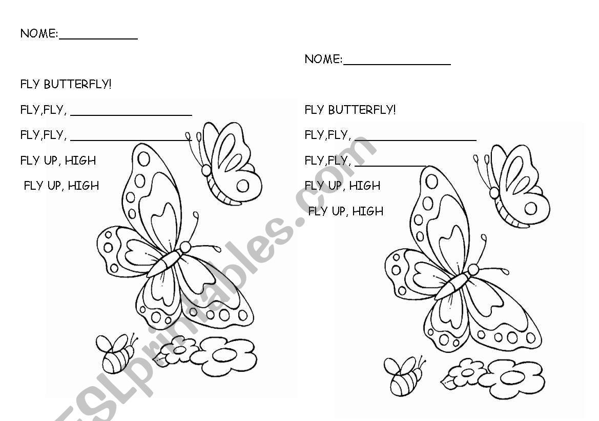 English Worksheets Fly Butterfly Poem