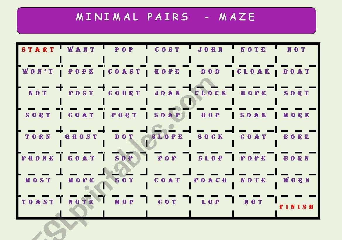 Minimal Pairs 2 Maze Key