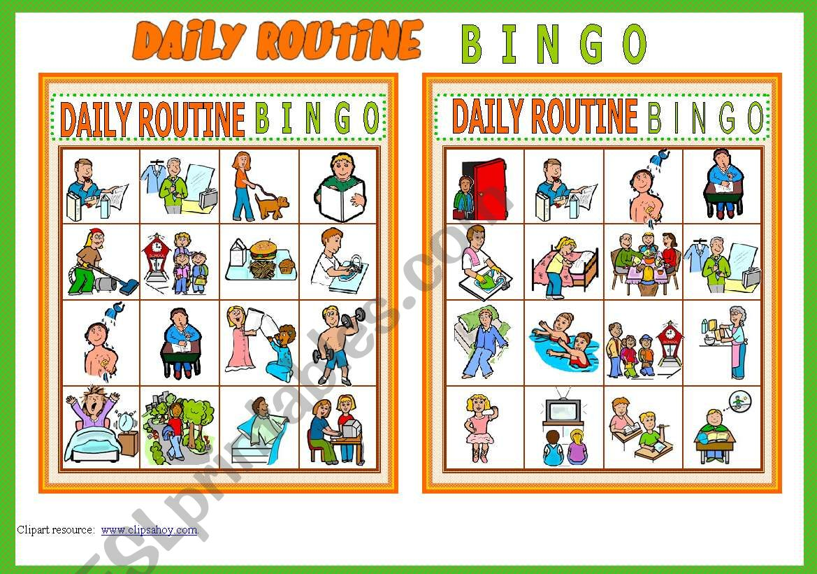 Daily Routine Bingo Game 10 Cards List Of Vocabulary
