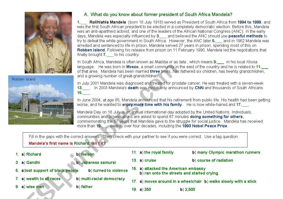 Nelson Mandela Pairwork