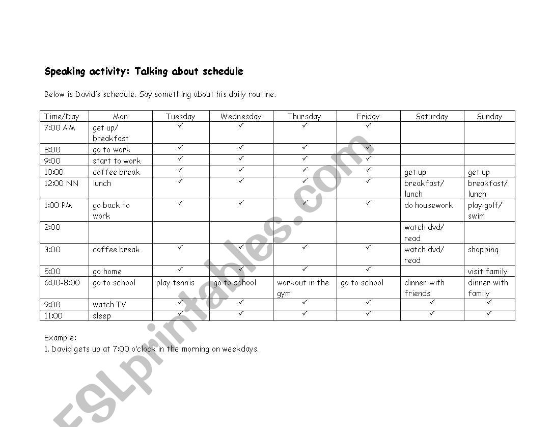 Talking About Schedule Daily Routine