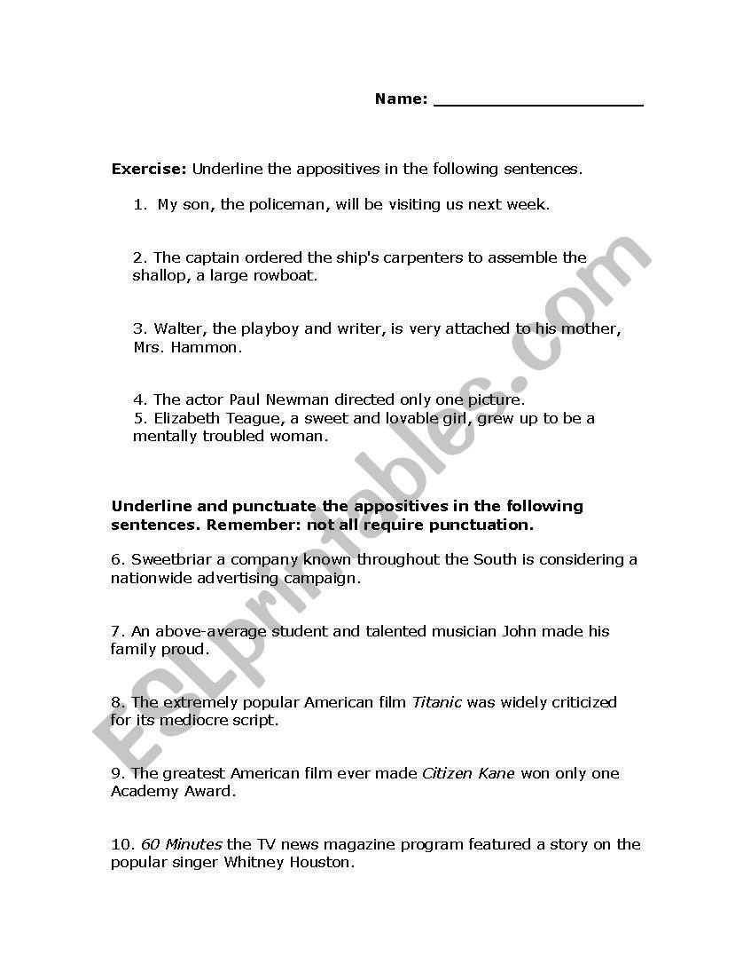 English Worksheets Appositives