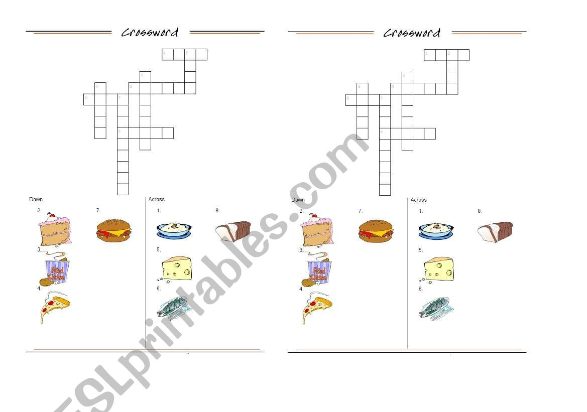 English Worksheets Food Crossword