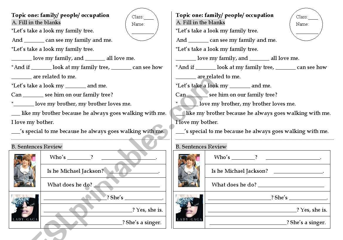 Family Worksheet