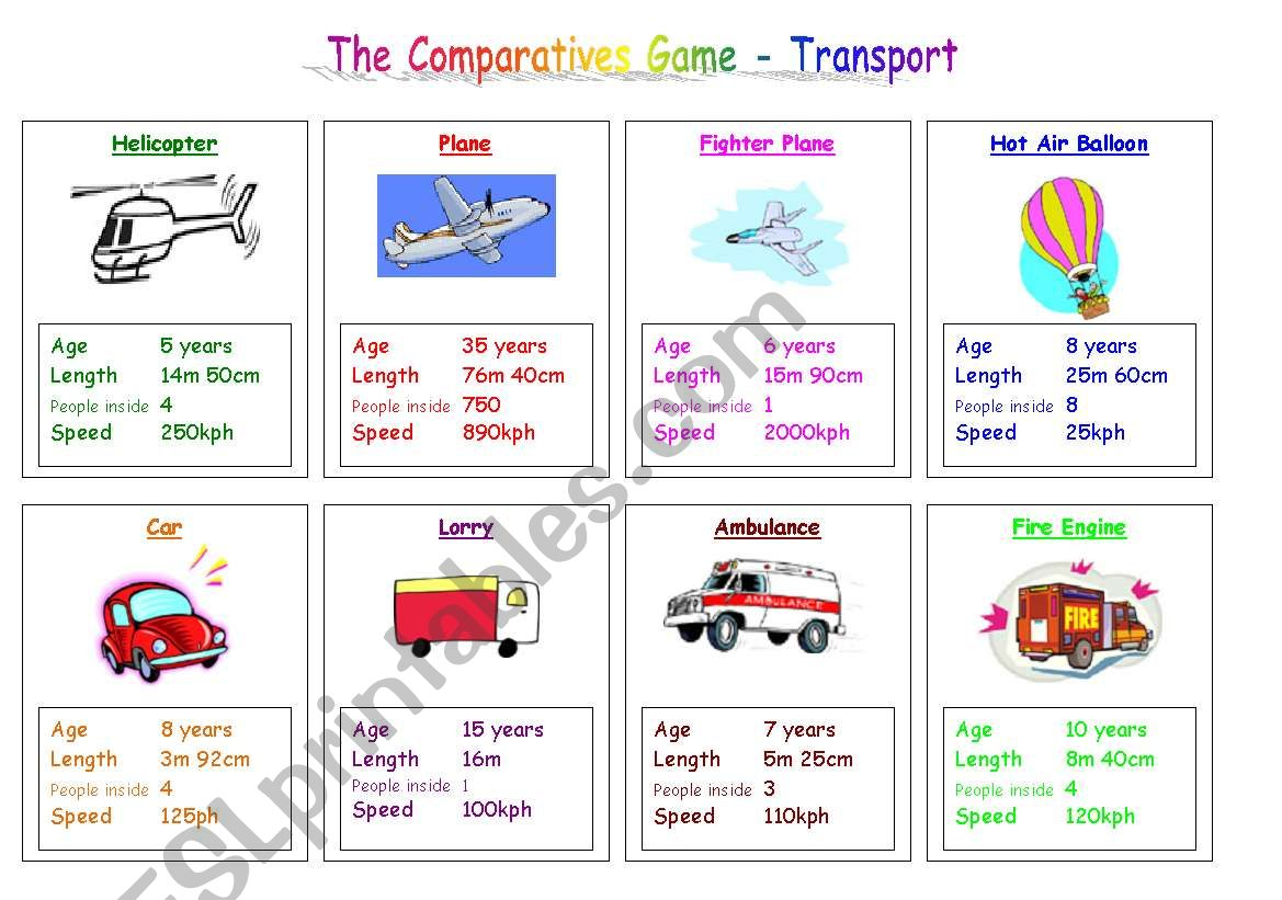 Transport Comparatives Game