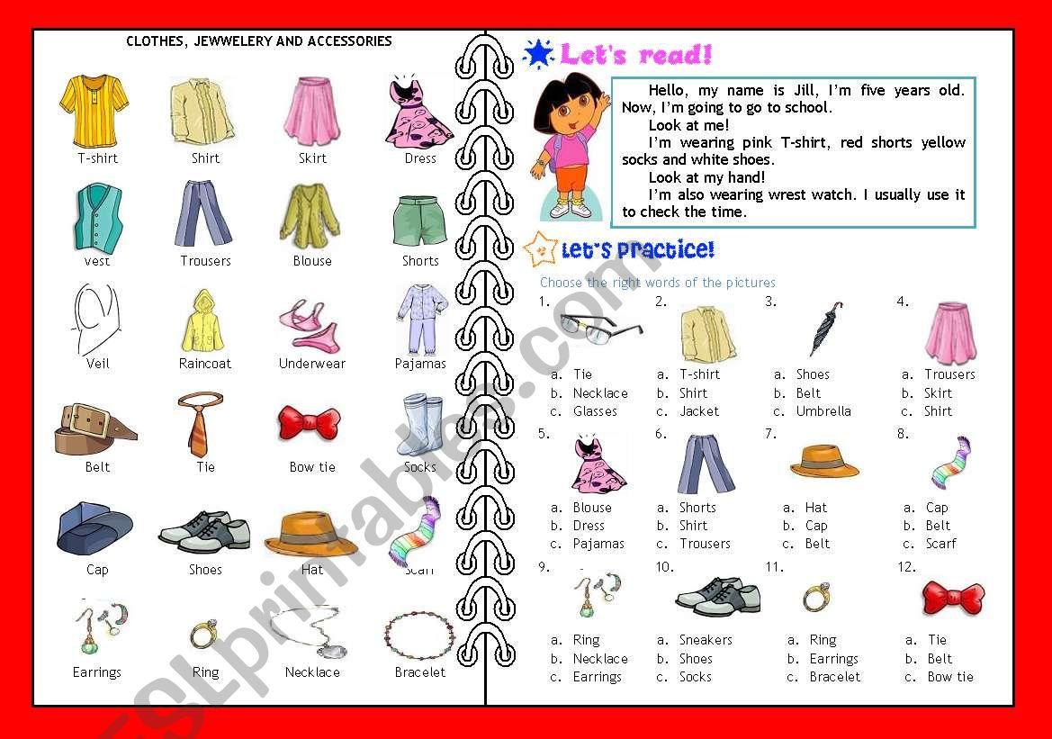 Clothes Reading Activity Multiple Choice Editable