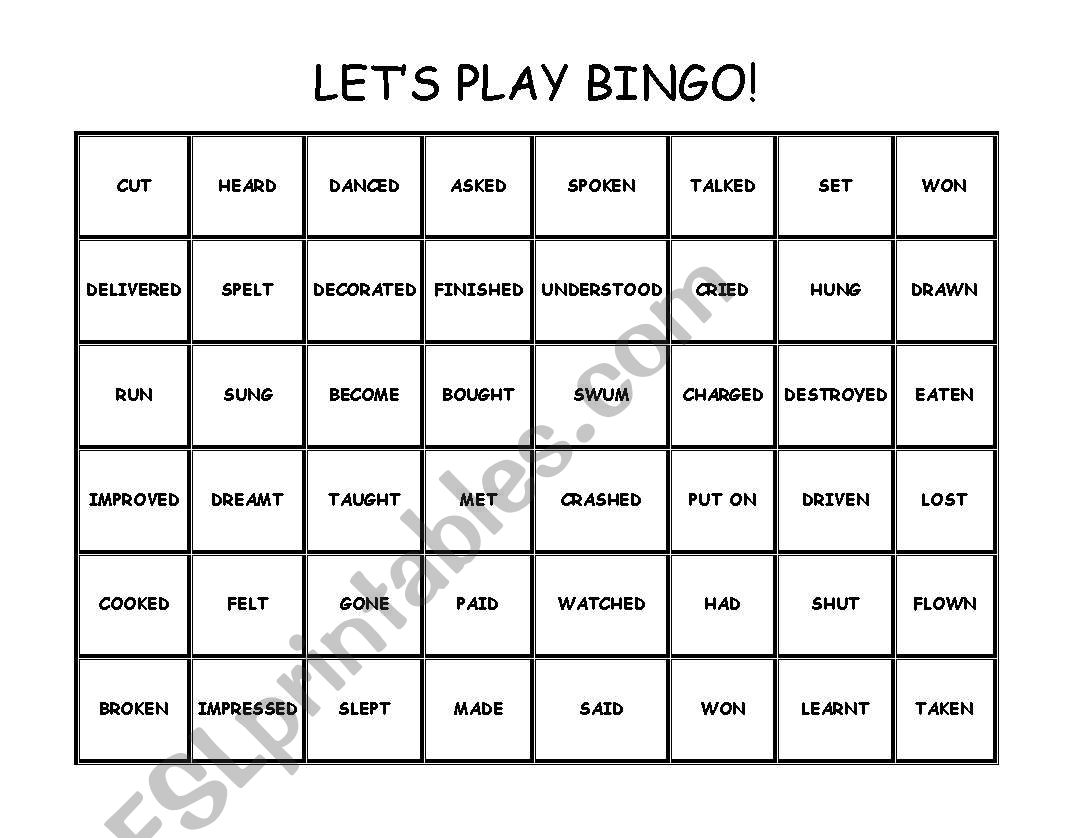 Past Participle Bingo