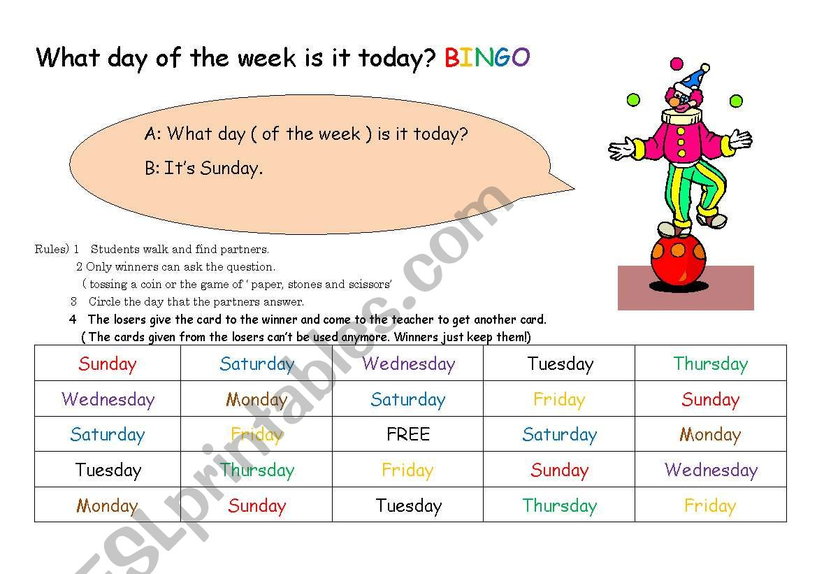 What Day Of The Week Is It Today Bingo