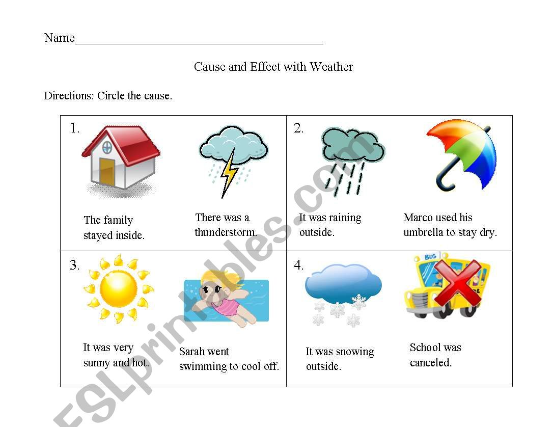 English Worksheets Cause And Effect Weather Worksheet
