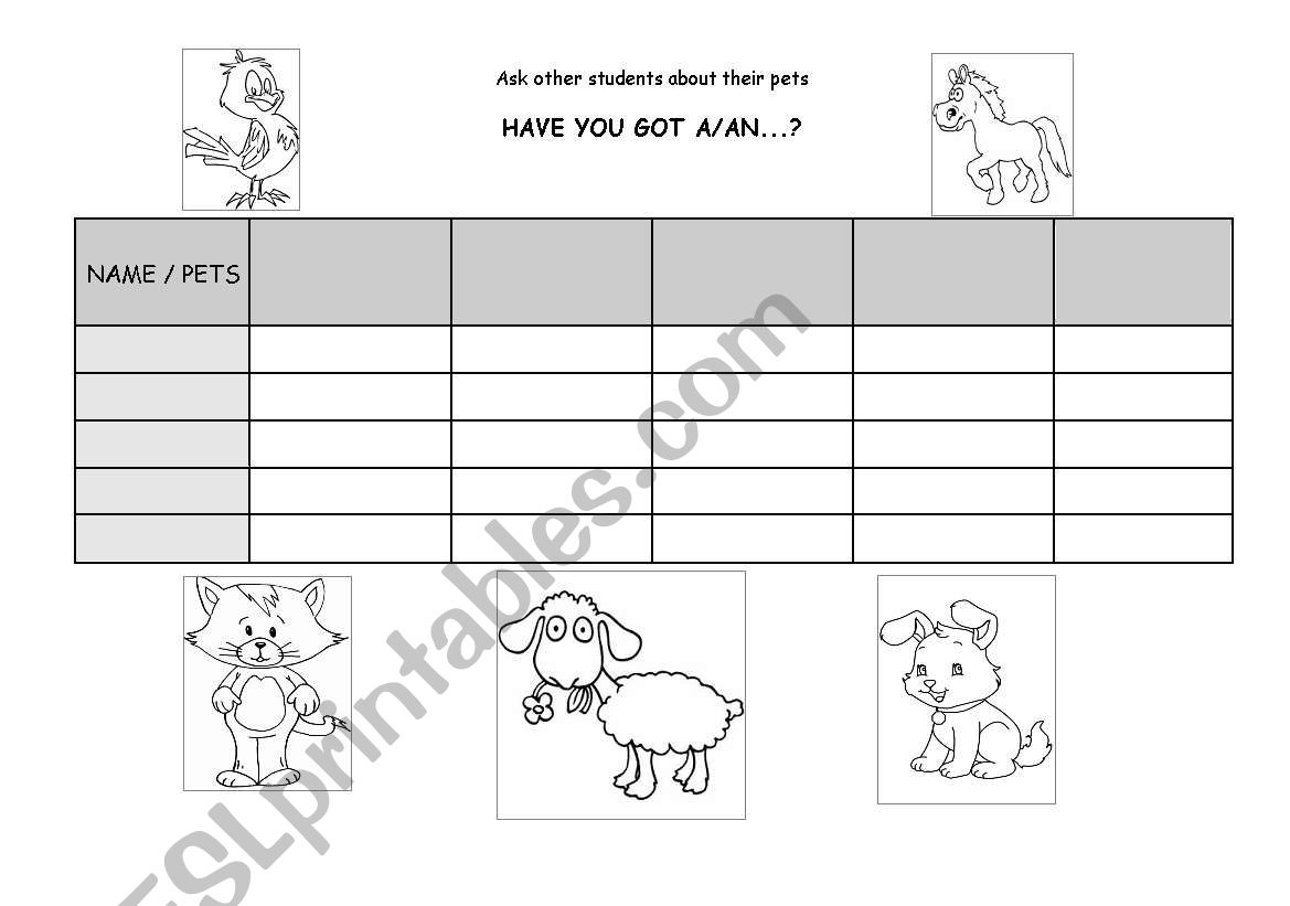English Worksheets Pets Survey