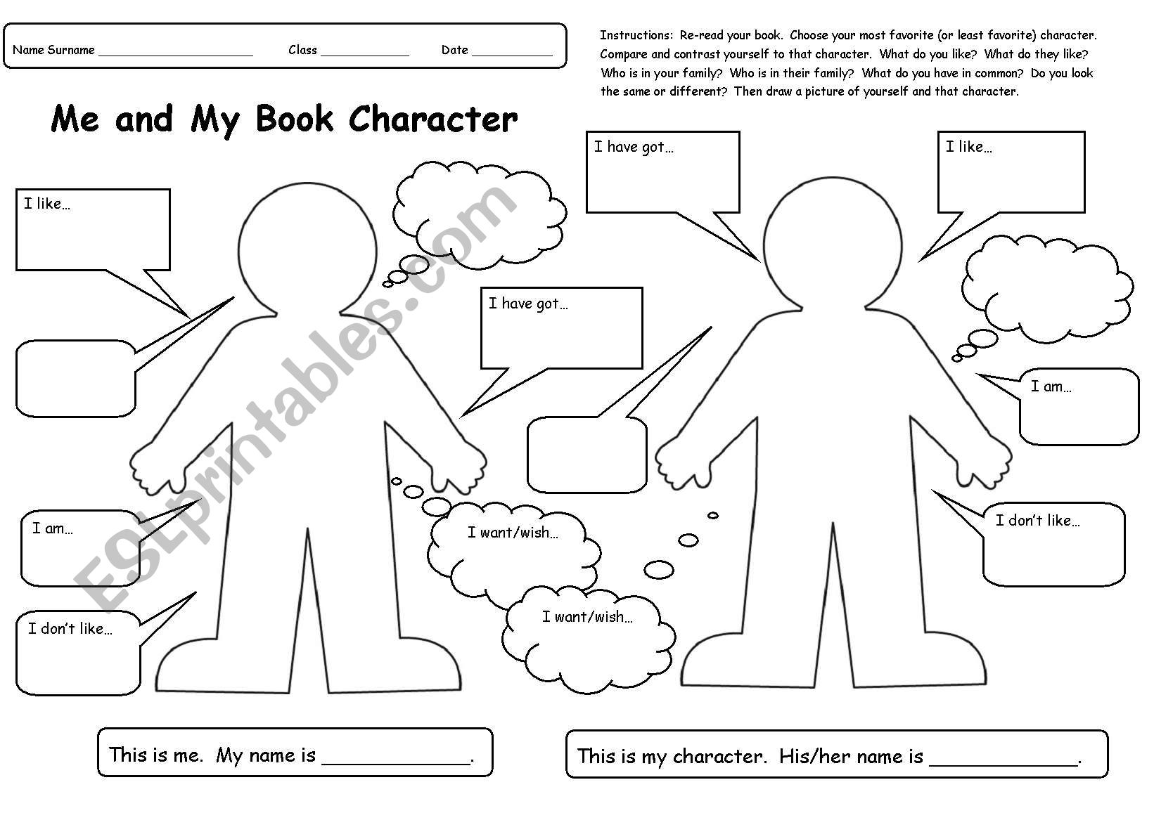 Me And My Book Character Book Report