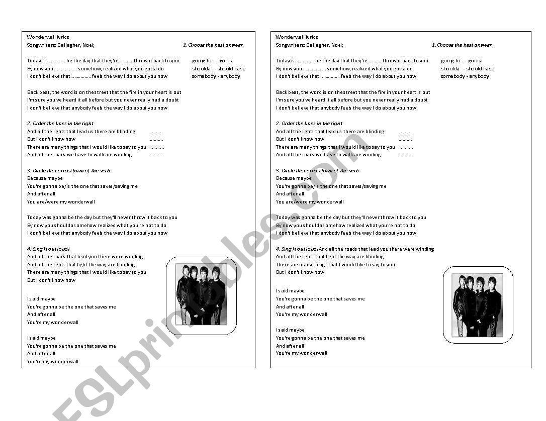 Wonderwall Oasis Lyrics And Activities
