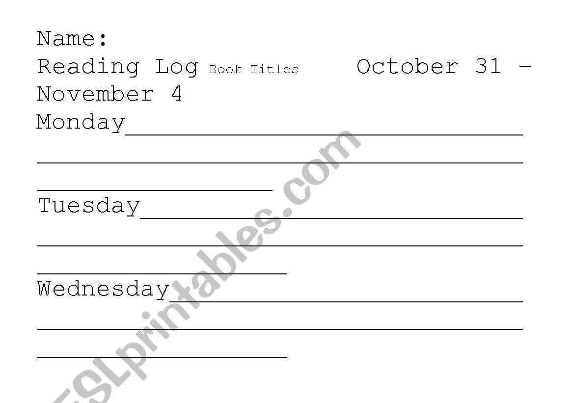 English Worksheets Reading Log