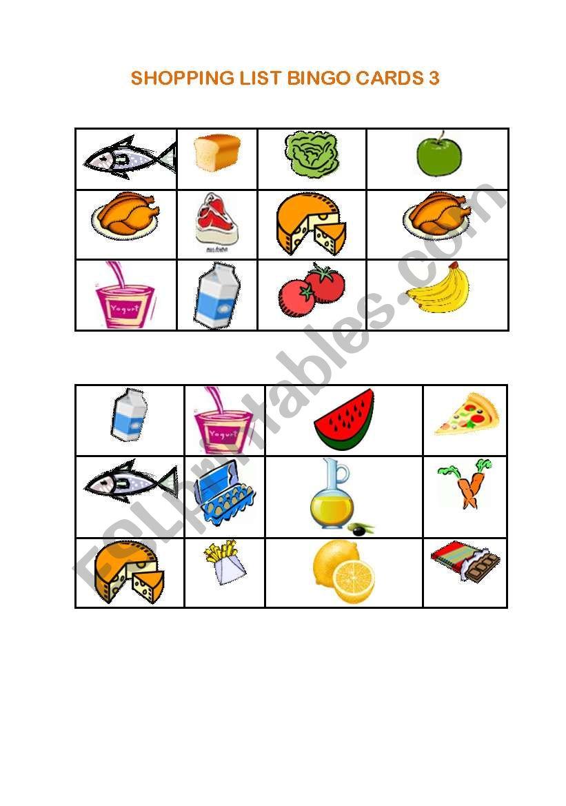 Shopping List Bingo 3
