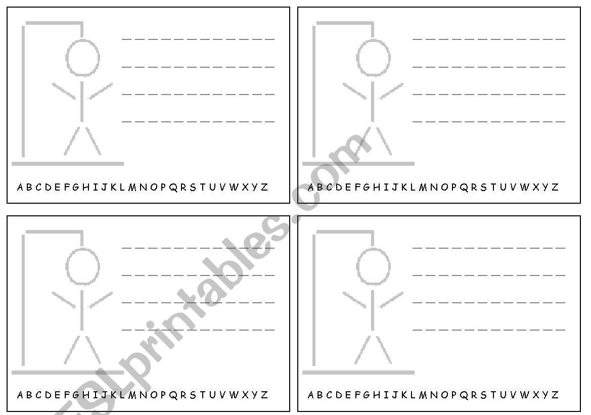 Hangman Notes For Student Pair Work