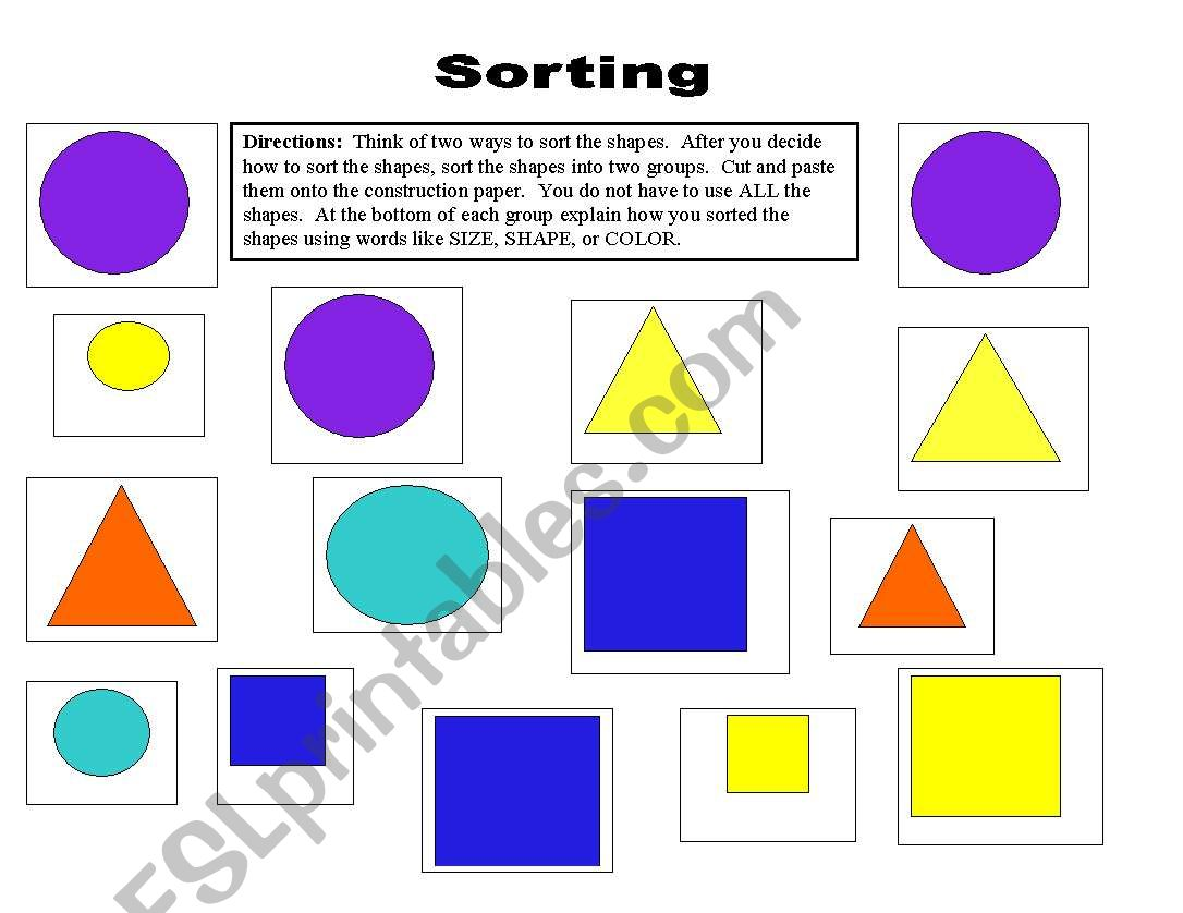 English Worksheets Sorting Shapes In Different Ways
