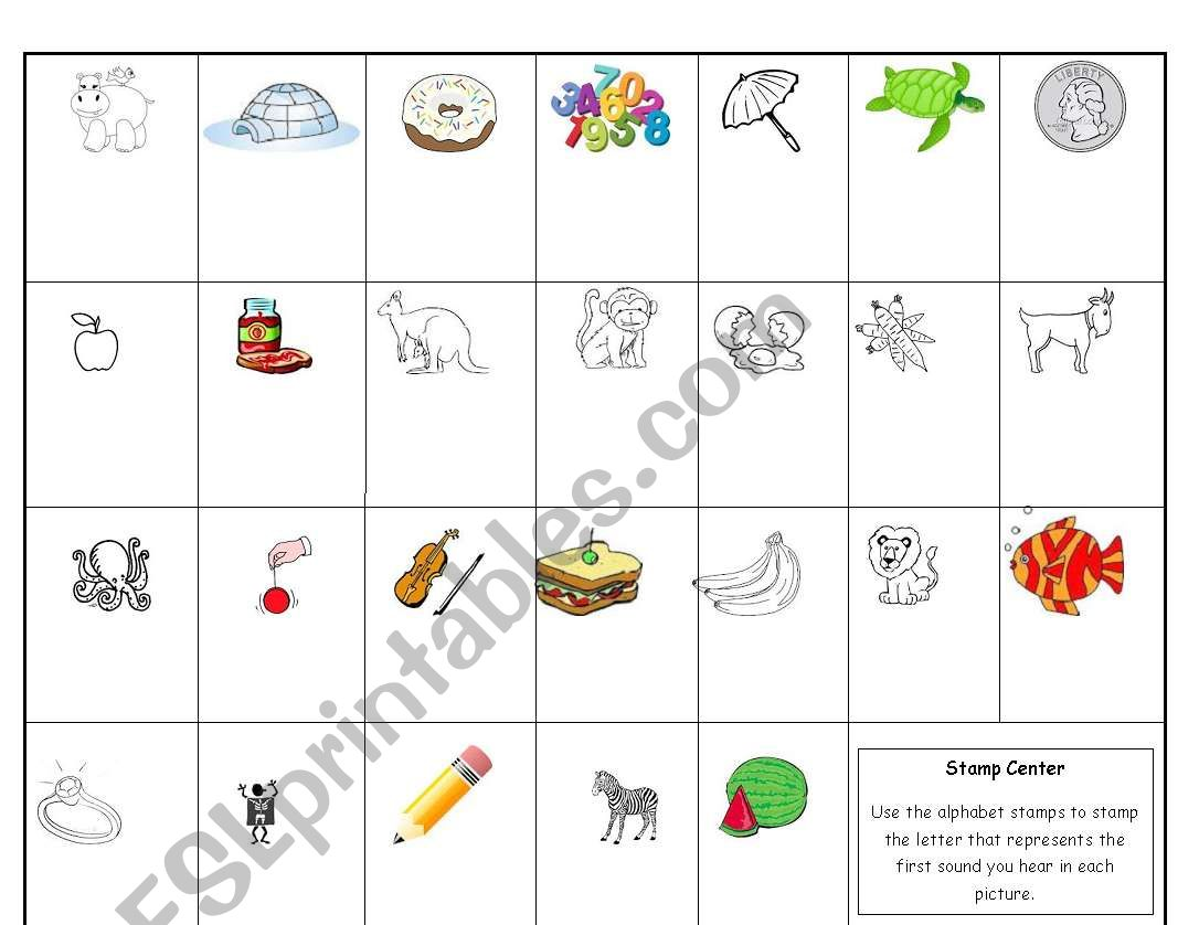 English Worksheets Letter Sound Identification