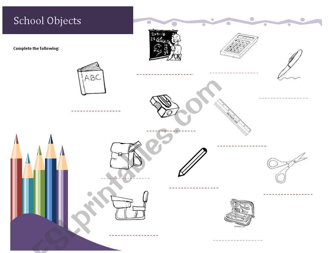 English Worksheets School Supplies