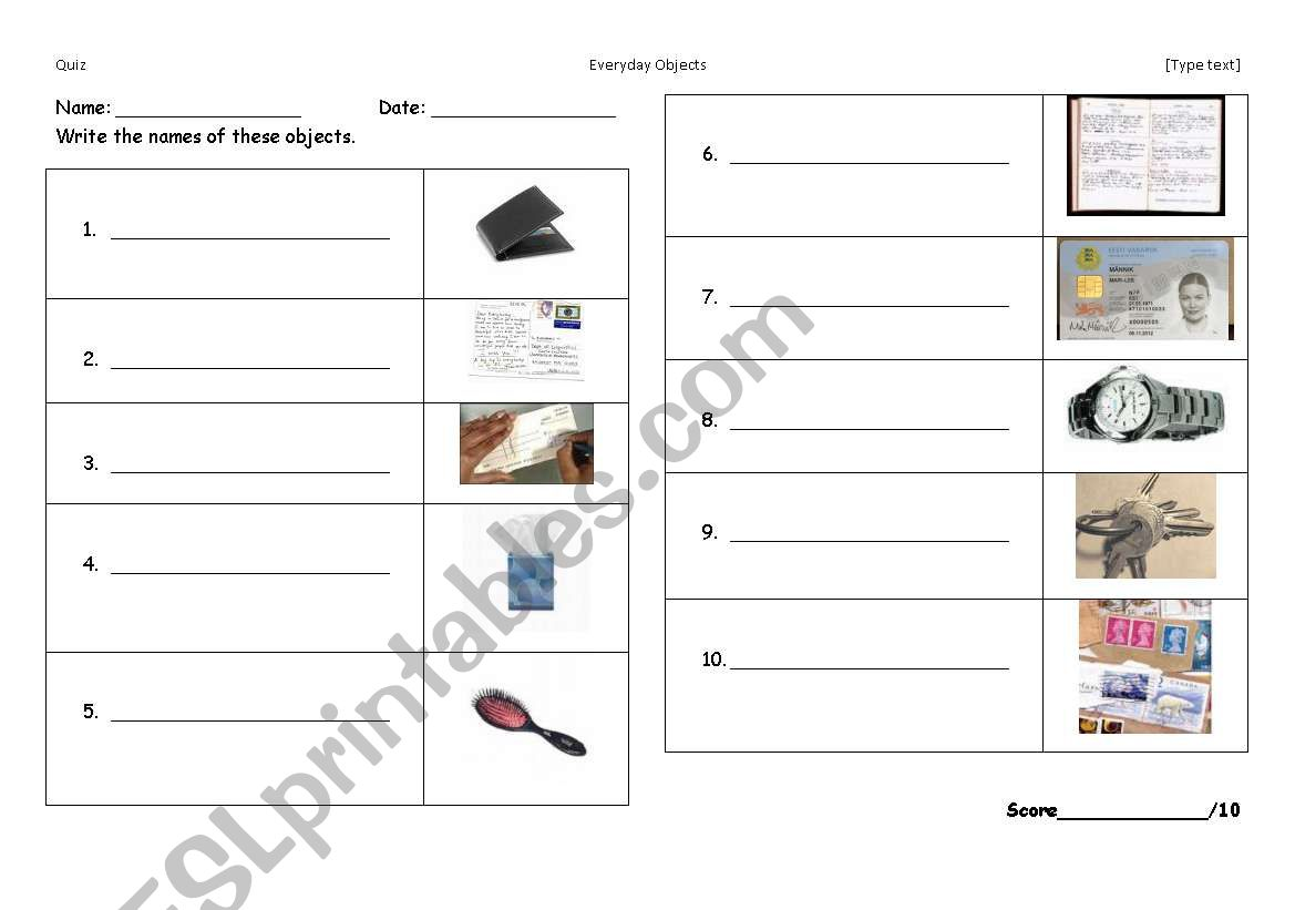 English Worksheets Test Everyday Objects
