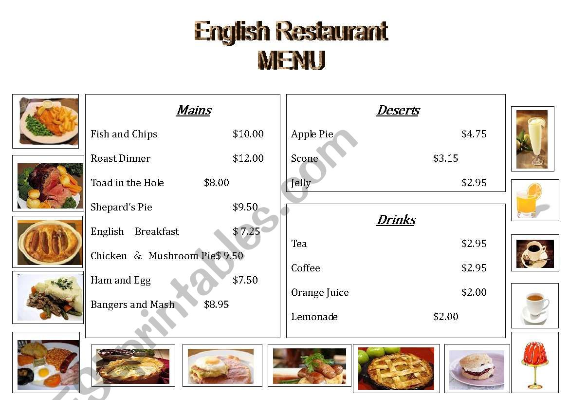 English Restaurant Menu