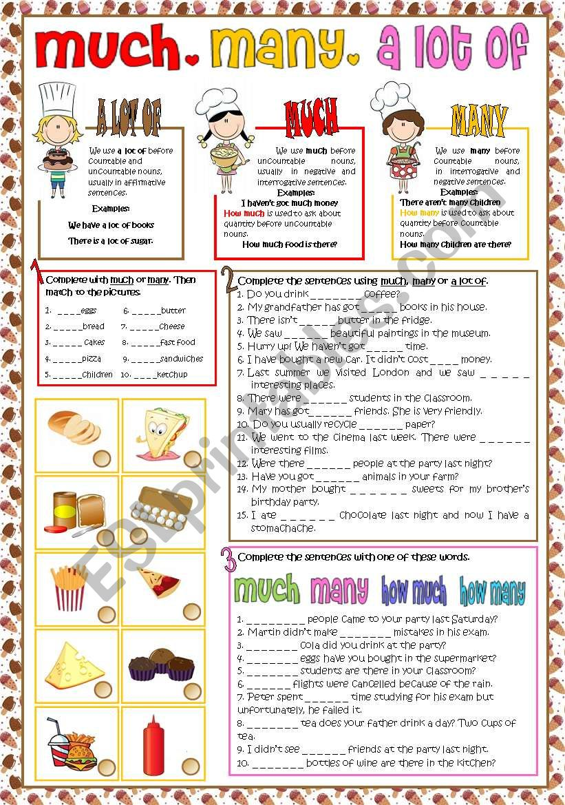 English Worksheets Much Many A Lot Of