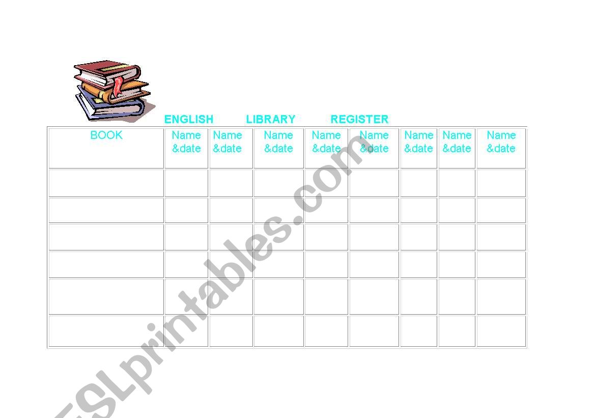 English Worksheets Library Register